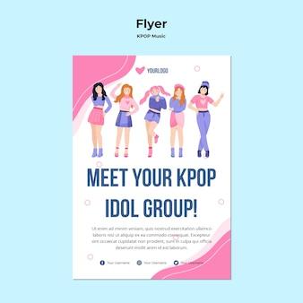 Folheto k-pop com ilustração