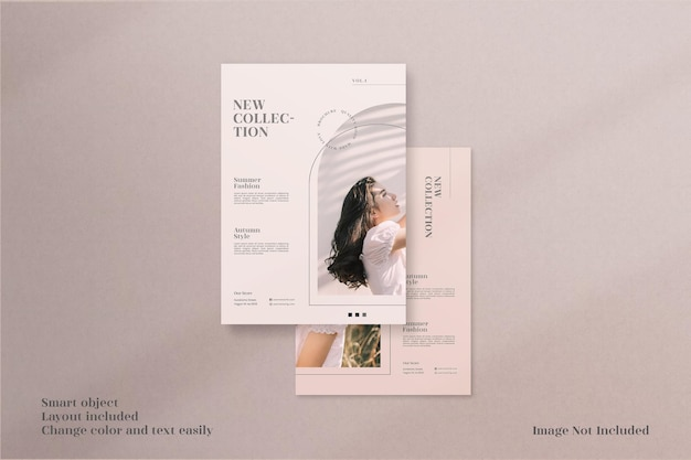 Folheto minimalista moderno e elegante ou maquete de folheto com modelo