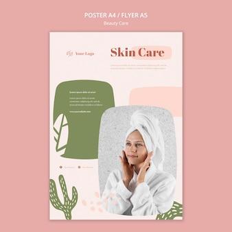 Folheto modelo de cuidados de beleza