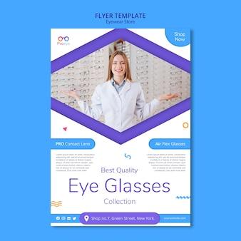 Folheto modelo de loja de óculos
