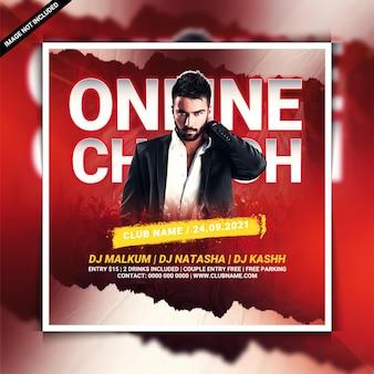 Folheto on-line da festa de adoração na igreja ou postagem na mídia social