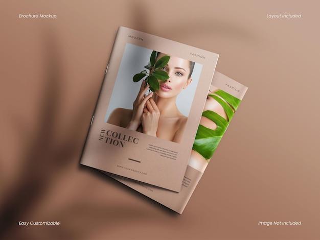 Folheto ou folheto elegante realista, moderno e minimalista, maquete de capa de revista