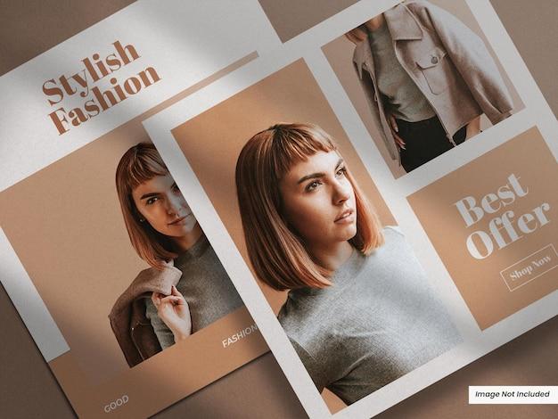 Folheto ou folheto quadrado aberto moderno e minimalista realista, maquete de folheto
