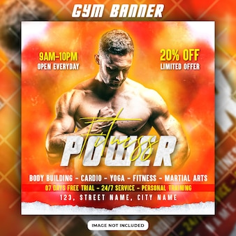 Folheto promocional de ginástica e fitness ou modelo de postagem de mídia social