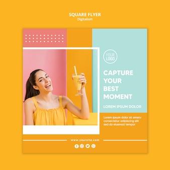 Folheto quadrado colorido de digitalismo com foto
