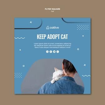 Folheto quadrado de adoção de gato