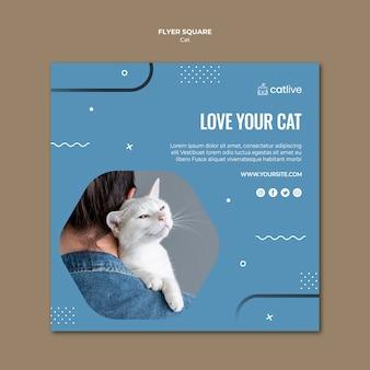 Folheto quadrado de amante de gato