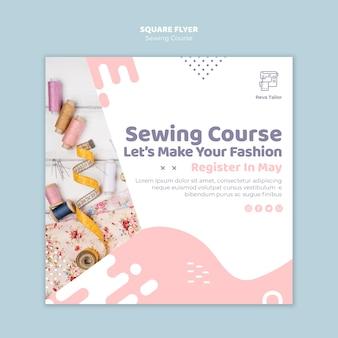 Folheto quadrado de costura de curso on-line