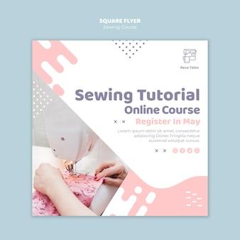 Folheto quadrado de curso de costura on-line