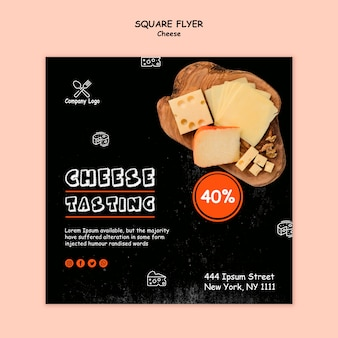 Folheto quadrado de degustação de queijo