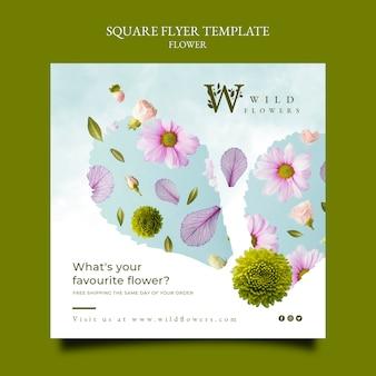 Folheto quadrado de floricultura