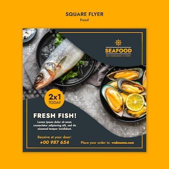 Folheto quadrado de frutos do mar frescos