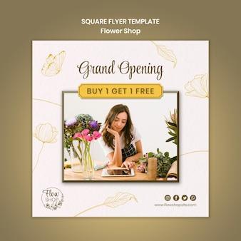 Folheto quadrado de inauguração da loja de flores