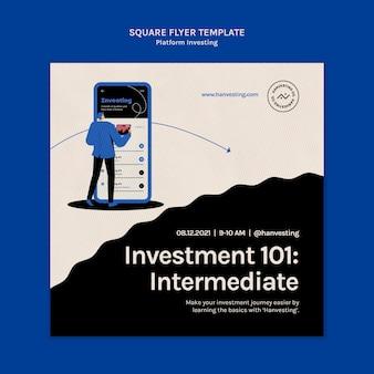 Folheto quadrado de investimento de plataforma