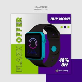 Folheto quadrado de loja online de dispositivos com smartwatch