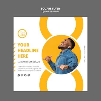 Folheto quadrado de modelo de anúncio empresarial minimalista