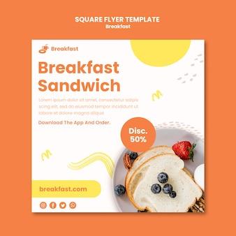 Folheto quadrado de sanduíche de café da manhã