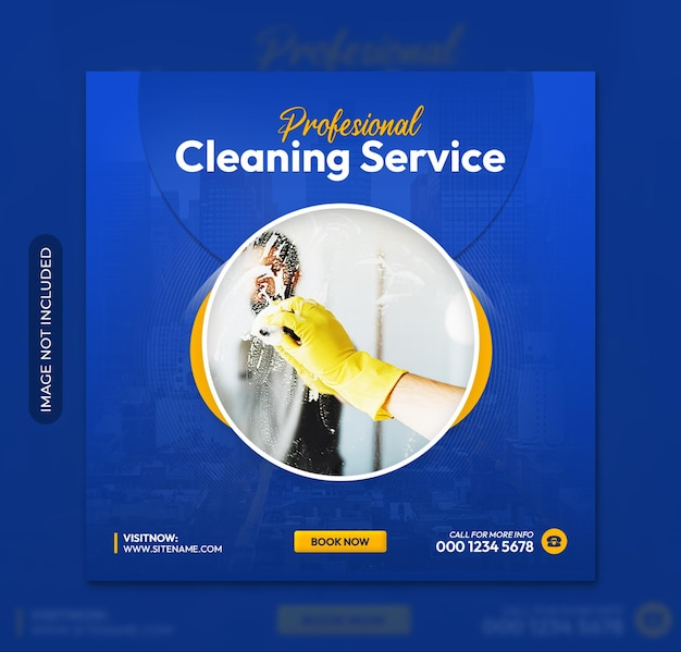 Folheto quadrado de serviço de limpeza profissional ou modelo de postagem de mídia social no instagram
