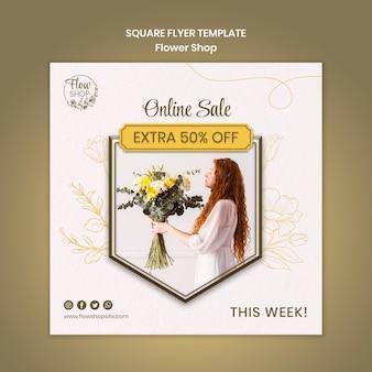 Folheto quadrado de venda online de floricultura