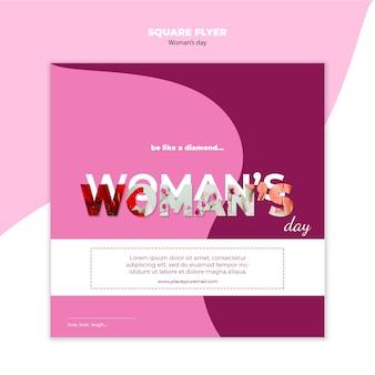 Folheto quadrado do dia da mulher