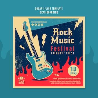 Folheto quadrado do festival de música rock