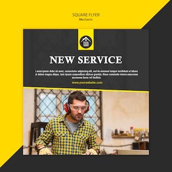 Folheto quadrado do serviço novo do trabalhador manual do carpinteiro