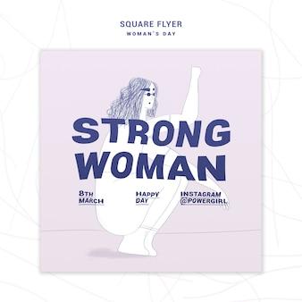 Folheto quadrado motivacional dia da mulher