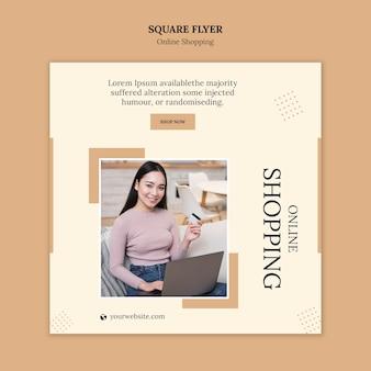 Folheto quadrado on-line de compras