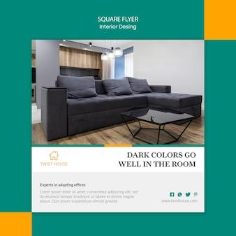 Folheto quadrado para design de interiores