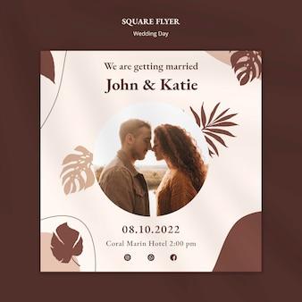 Folheto quadrado para o dia do casamento