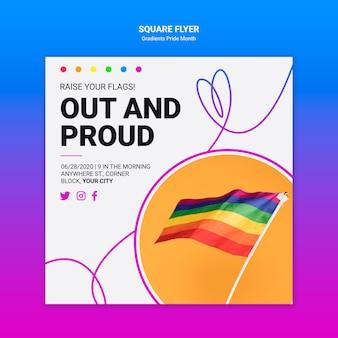 Folheto quadrado para orgulho lgbt