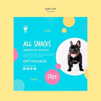 Folheto quadrado para pacote de presente de cachorro