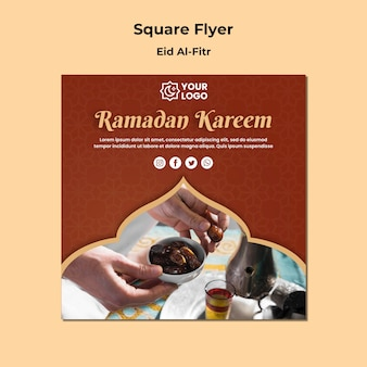 Folheto quadrado para ramadhan kareem