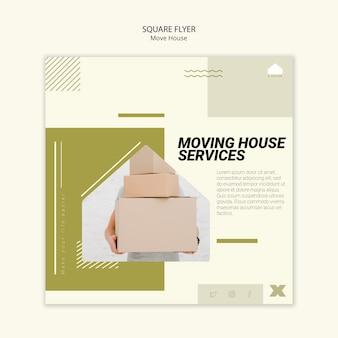 Folheto quadrado para serviços de mudança de casa