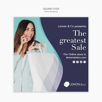 Folheto quadrado para venda de moda on-line