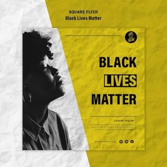 Folheto quadrado para vidas negras importa