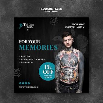 Folheto quadrado profissional de estúdio de tatuagem