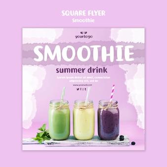 Folheto quadrado refrescante de smoothie