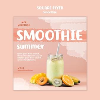 Folheto quadrado refrescante smoothie com foto