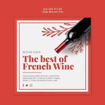 Folheto quadrado vinho francês