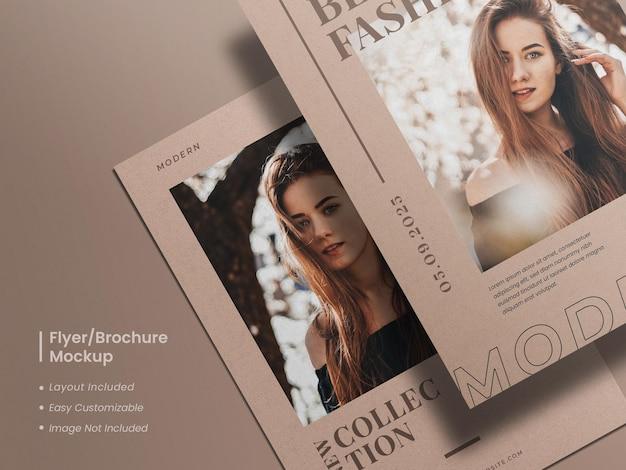 Folheto realista, moderno e elegante minimalista ou maquete de folheto com design de layout de modelo