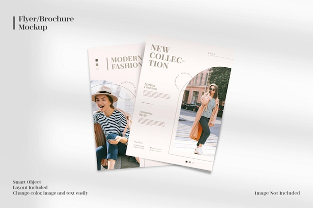 Folheto realista, moderno e elegante minimalista ou maquete de folheto com modelo de layout