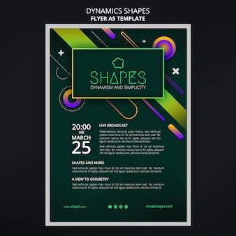 Folheto vertical com formas geométricas de néon dinâmicas