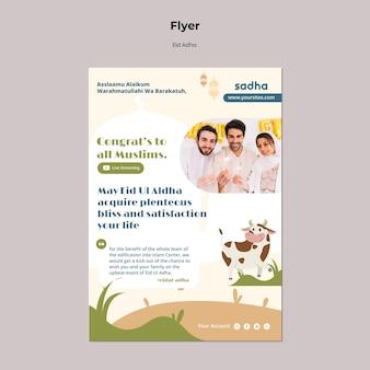 Folheto vertical para a celebração do eid al-adha