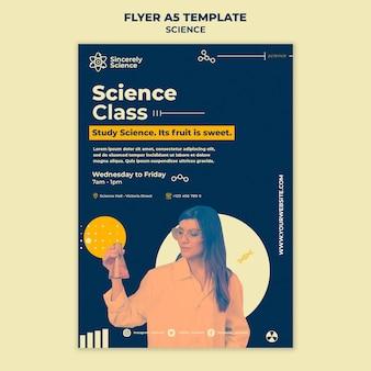 Folheto vertical para aula de ciências