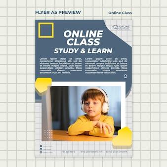 Folheto vertical para aulas online com criança
