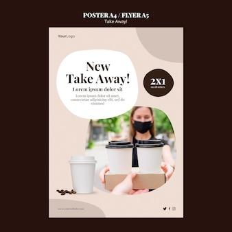 Folheto vertical para café para viagem