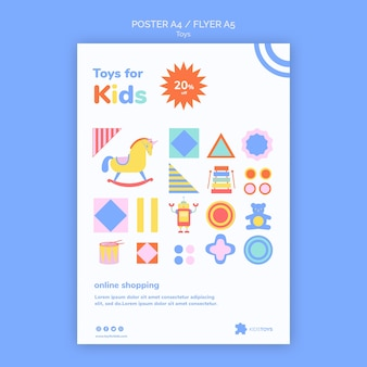 Folheto vertical para compras online de brinquedos infantis