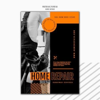 Folheto vertical para empresa de reparos domésticos