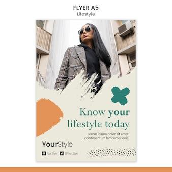Folheto vertical para estilo de vida pessoal
